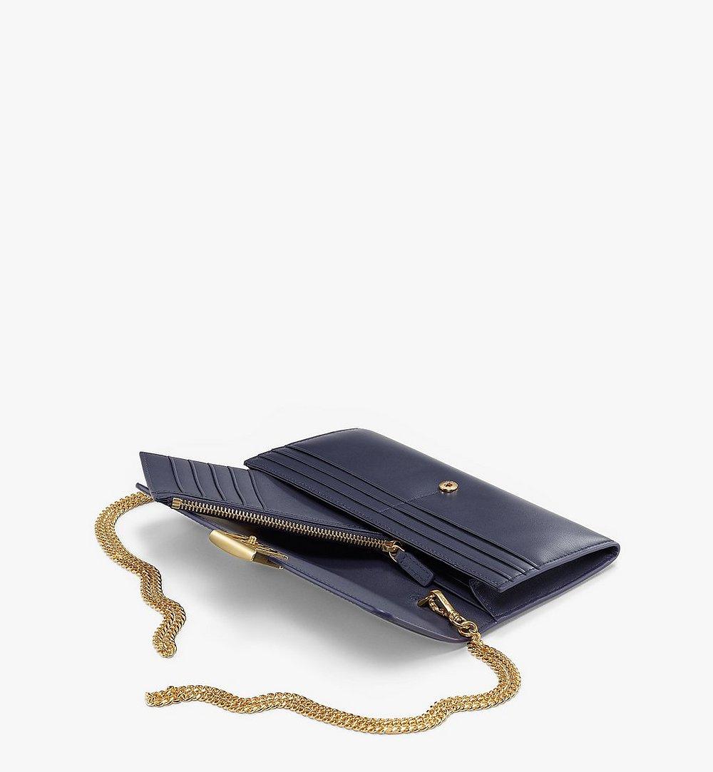 MCM Mena Crossbody Wallet in Embossed Leather Blue MYLBSLM01VZ001 Alternate View 1