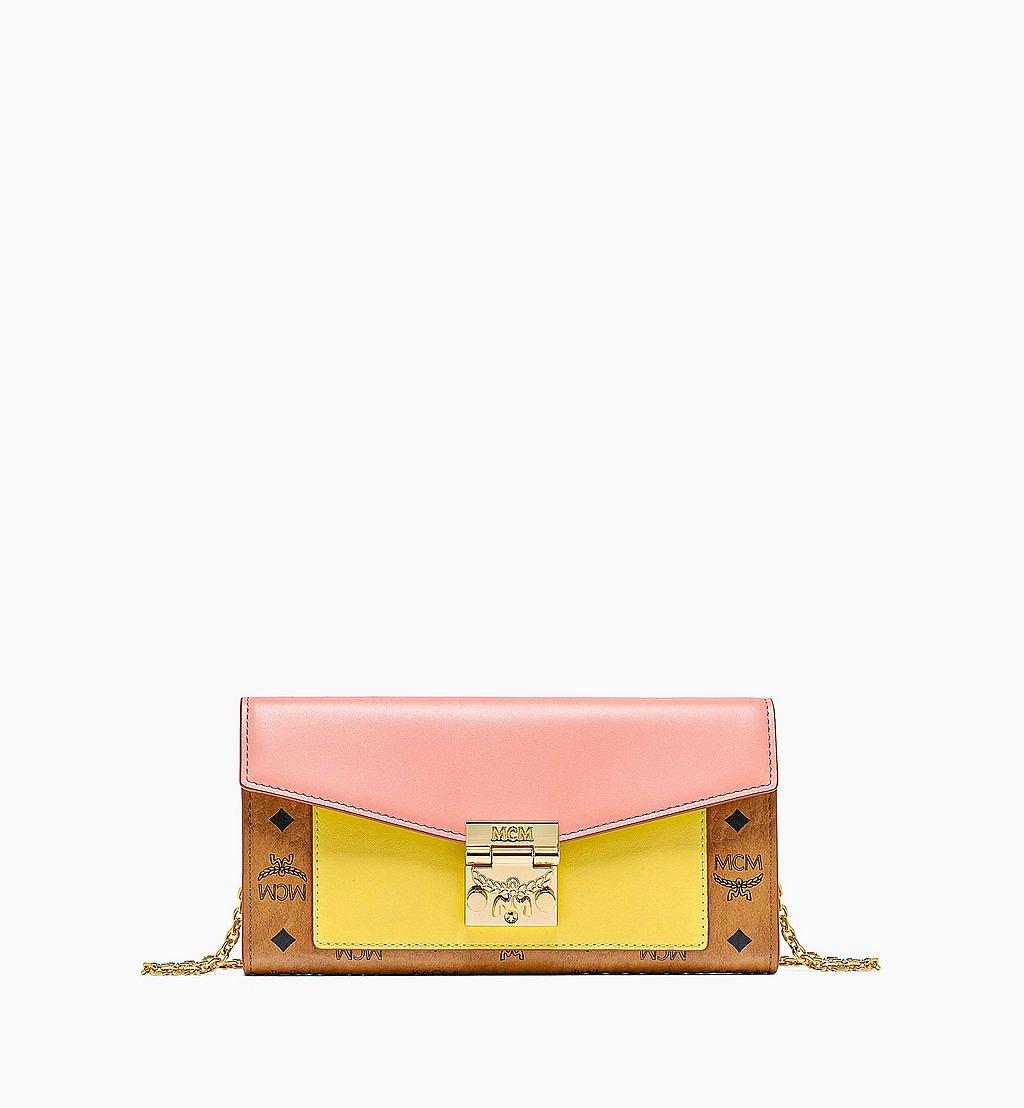 MCM Patricia Crossbody Wallet in Visetos Leather Block Pink MYLBSPA01O8001 Alternate View 1