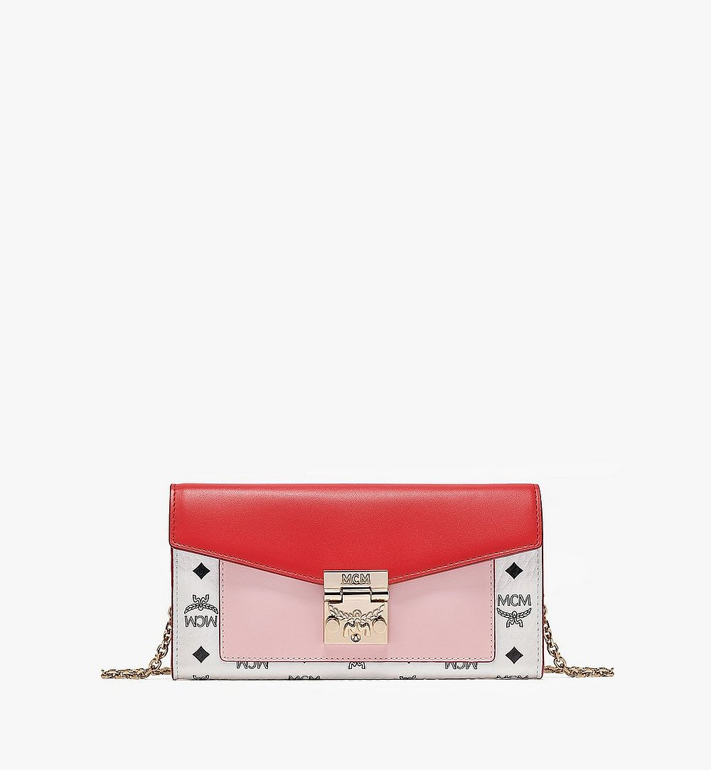 MCM Patricia Crossbody Wallet in Visetos Leather Block Pink MYLBSPA01R4001 Alternate View 1