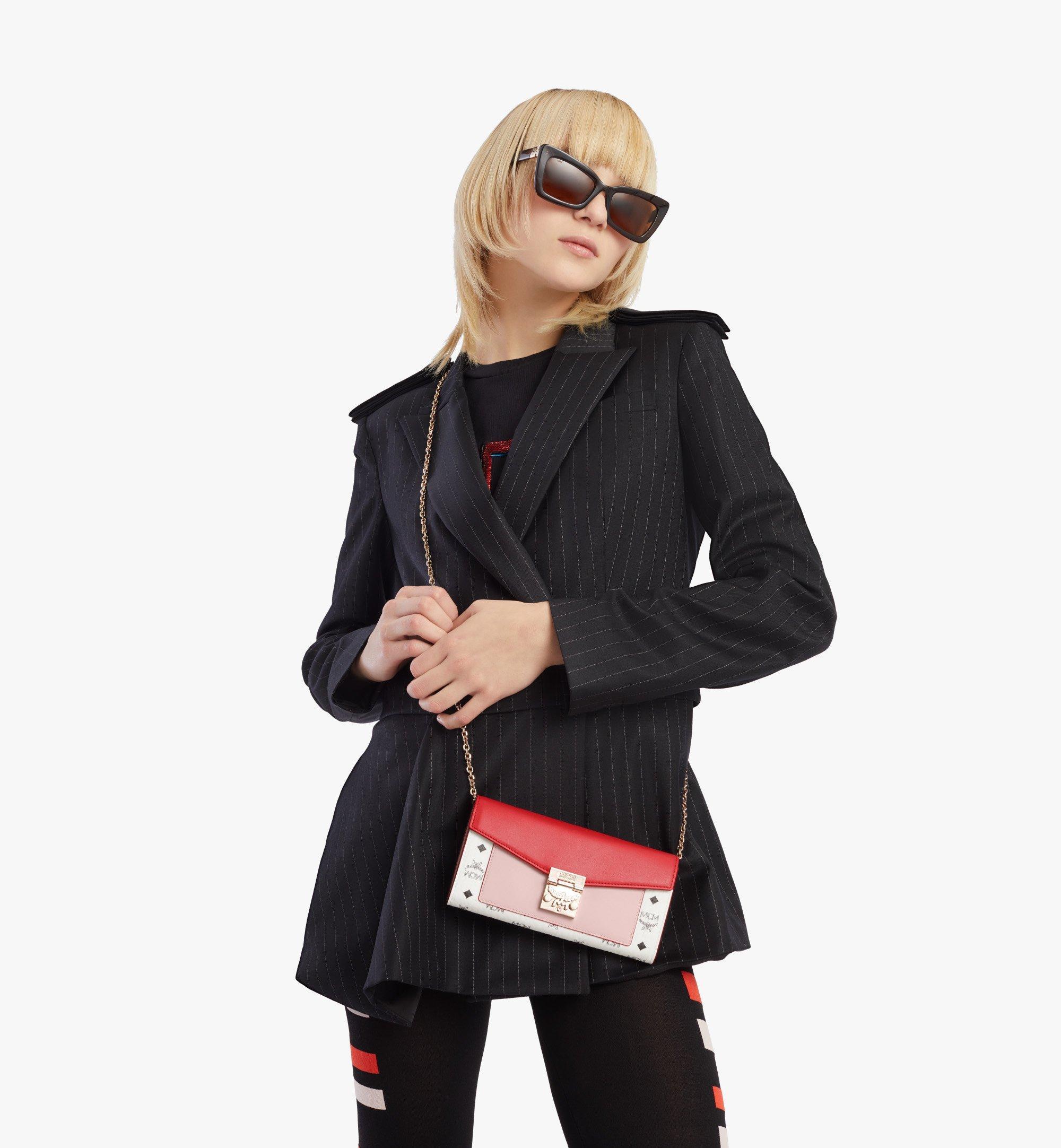 MCM Patricia Crossbody Wallet in Visetos Leather Block Pink MYLBSPA01R4001 Alternate View 2