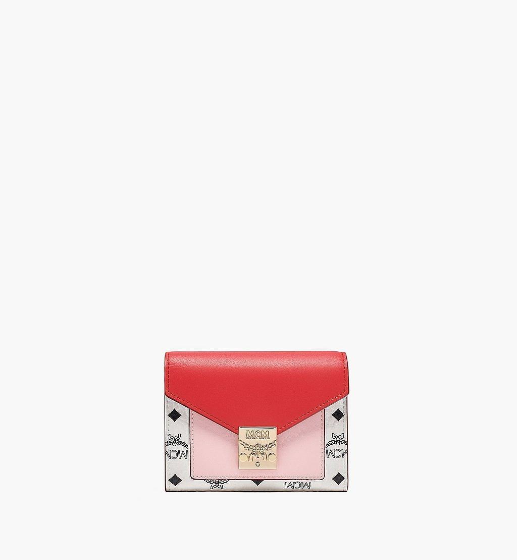 MCM Patricia Trifold Wallet in Visetos Leather Block Pink MYLBSPA02R4001 Alternate View 1