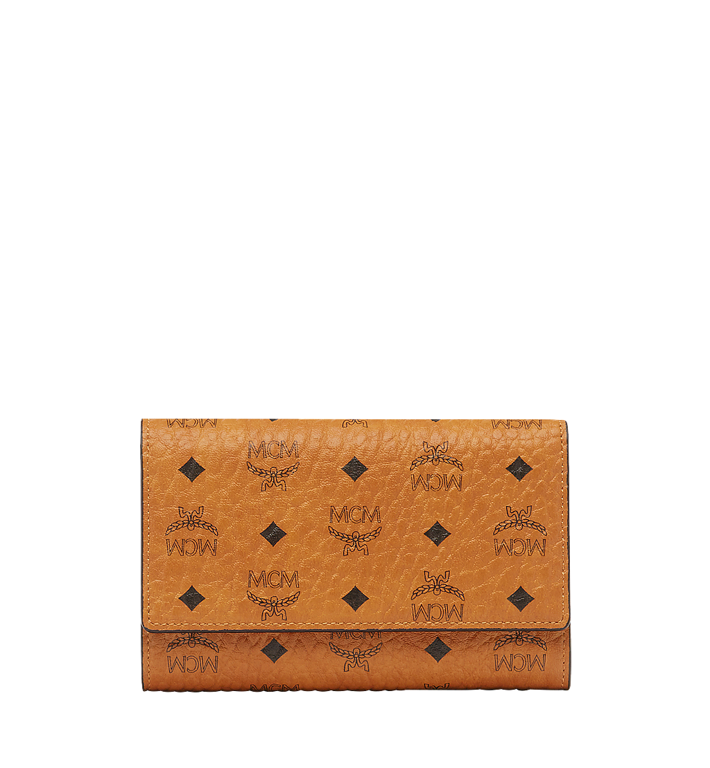 MCM Three Fold Wallet in Visetos Original Cognac MYM8SVI49CO001 Alternate View 1