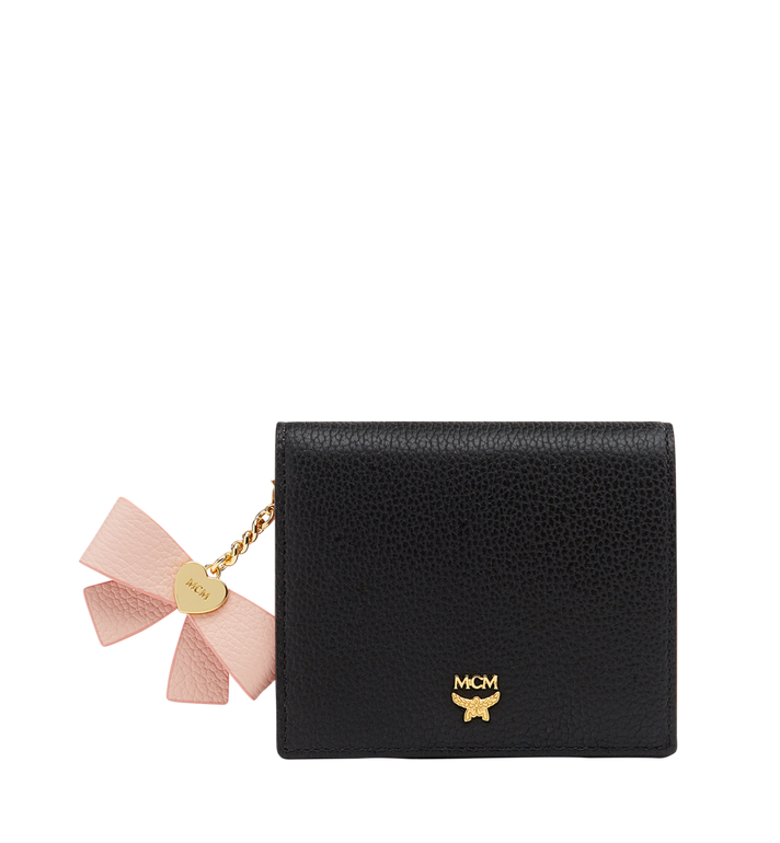 MCM Mina Bow Charm Two Fold Wallet in Leather MYS8SLL70BK001 AlternateView