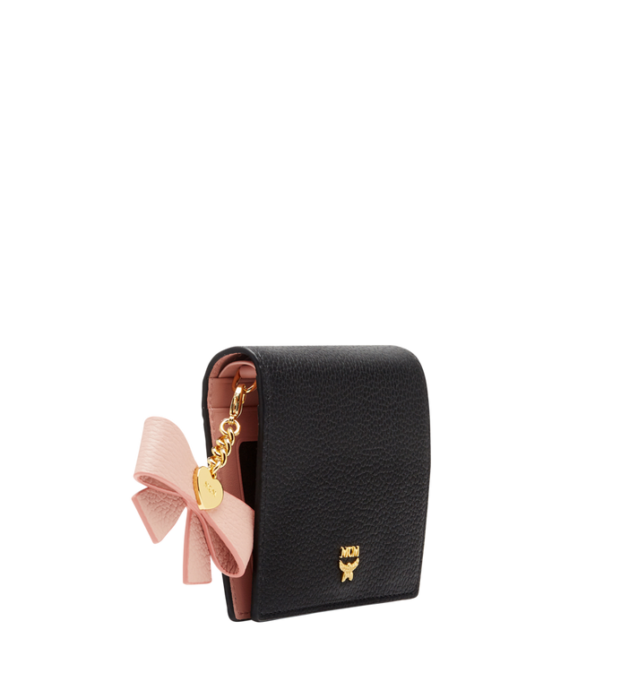 MCM Mina Bow Charm Two Fold Wallet in Leather MYS8SLL70BK001 AlternateView2