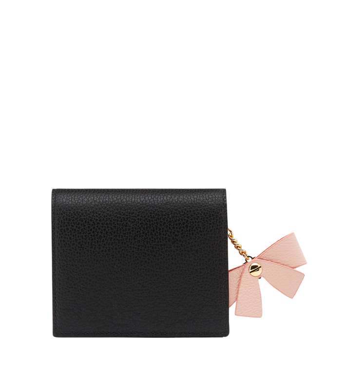 MCM Mina Bow Charm Two Fold Wallet in Leather MYS8SLL70BK001 AlternateView3