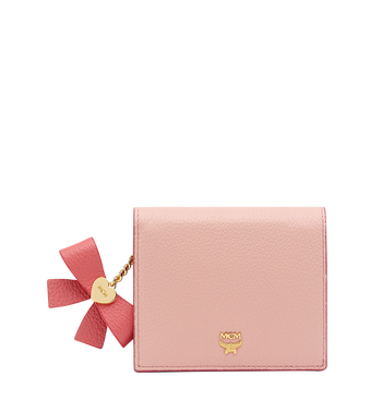MCM Mina Bow Charm Two Fold Wallet in Leather Pink MYS8SLL70PV001 Alternate View 1