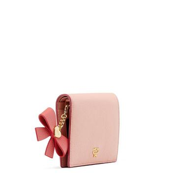 MCM Mina Bow Charm Two Fold Wallet in Leather Pink MYS8SLL70PV001 Alternate View 2
