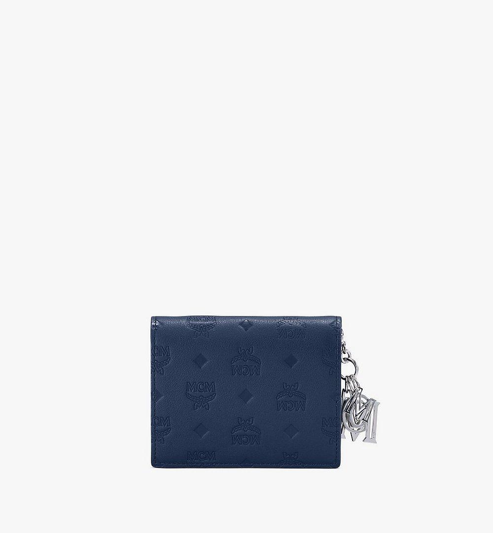 MCM Klara Two-Fold Wallet in Monogram Leather Blue MYS9AKM40VA001 Alternate View 1