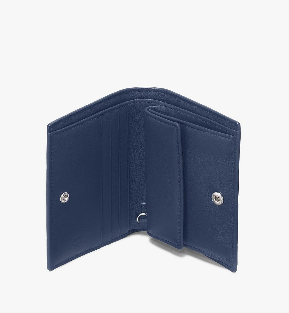 MCM Klara Two-Fold Wallet in Monogram Leather Blue MYS9AKM40VA001 Alternate View 2