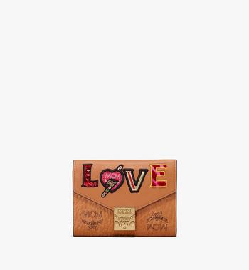 MCM Patricia Three-Fold Wallet in Love Patch Visetos Alternate View 1