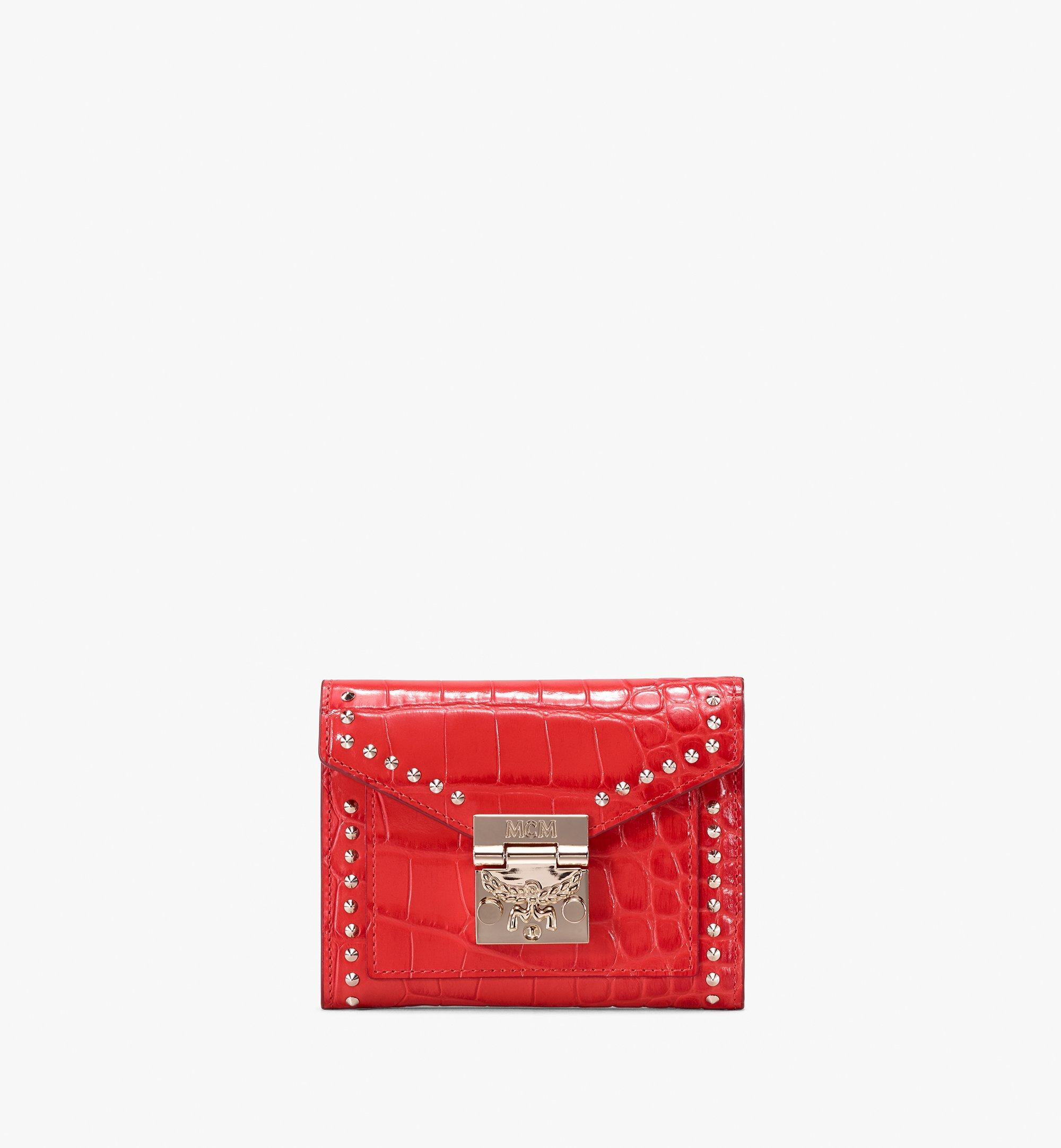 MCM Patricia Three-Fold Wallet in Embossed Crocodile Red MYS9APA64RU001 Alternate View 1
