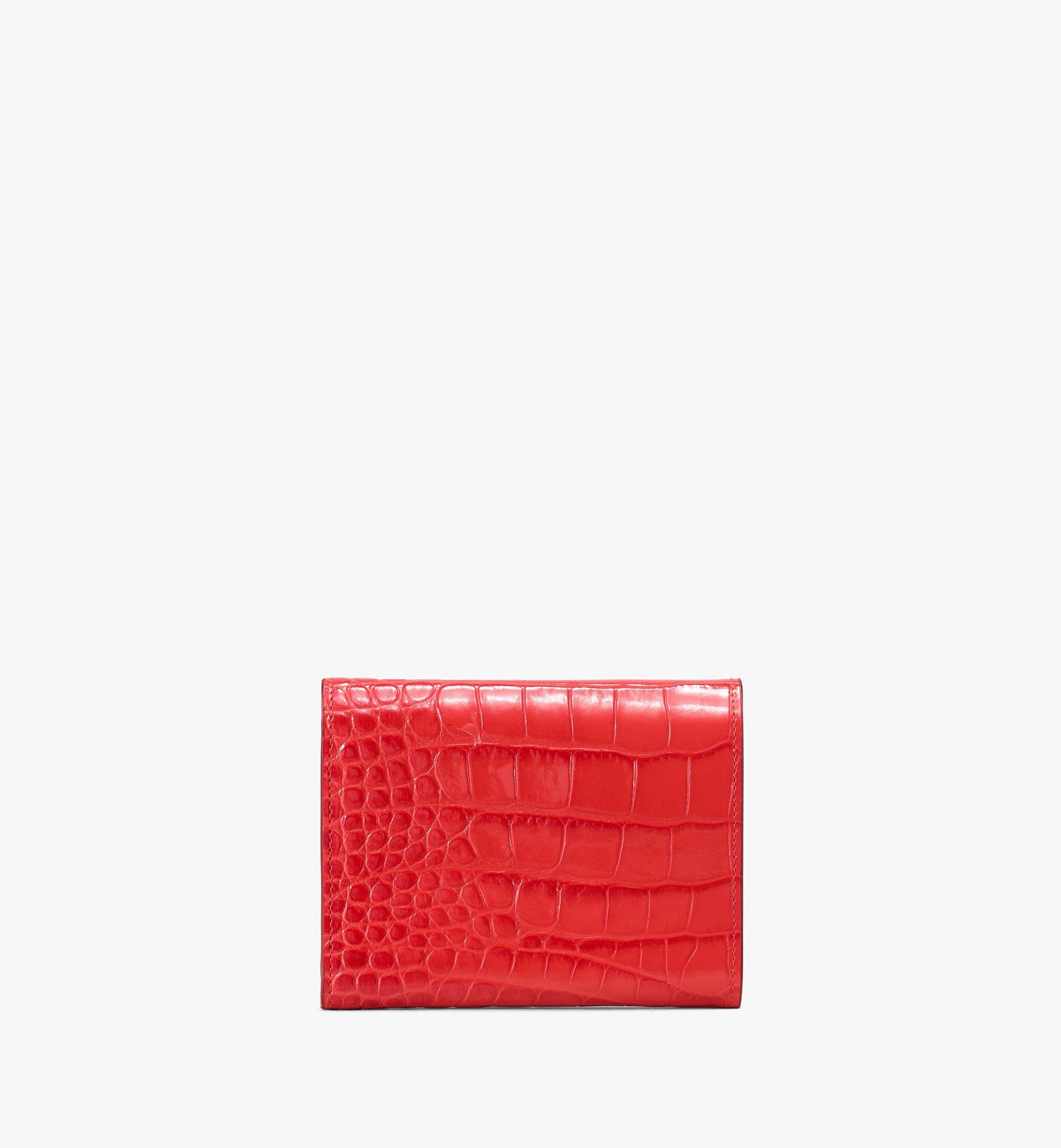 MCM Patricia Three-Fold Wallet in Embossed Crocodile Red MYS9APA64RU001 Alternate View 2