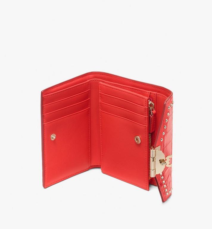 MCM Patricia Three-Fold Wallet in Embossed Crocodile Red MYS9APA64RU001 Alternate View 3
