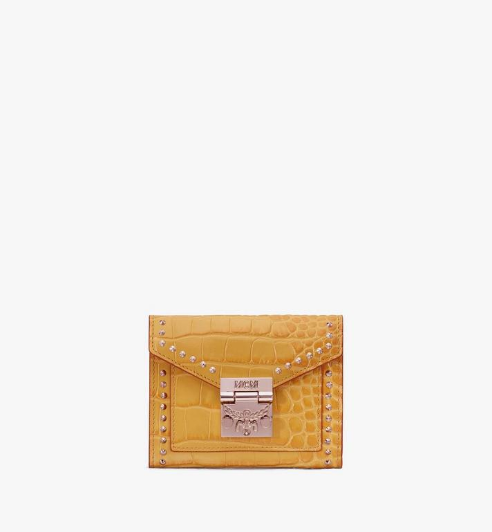 MCM Patricia Three-Fold Wallet in Embossed Crocodile Yellow MYS9APA64YJ001 Alternate View 1