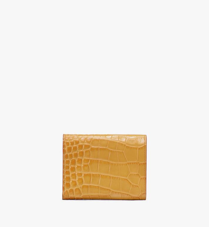 MCM Patricia Three-Fold Wallet in Embossed Crocodile Yellow MYS9APA64YJ001 Alternate View 2