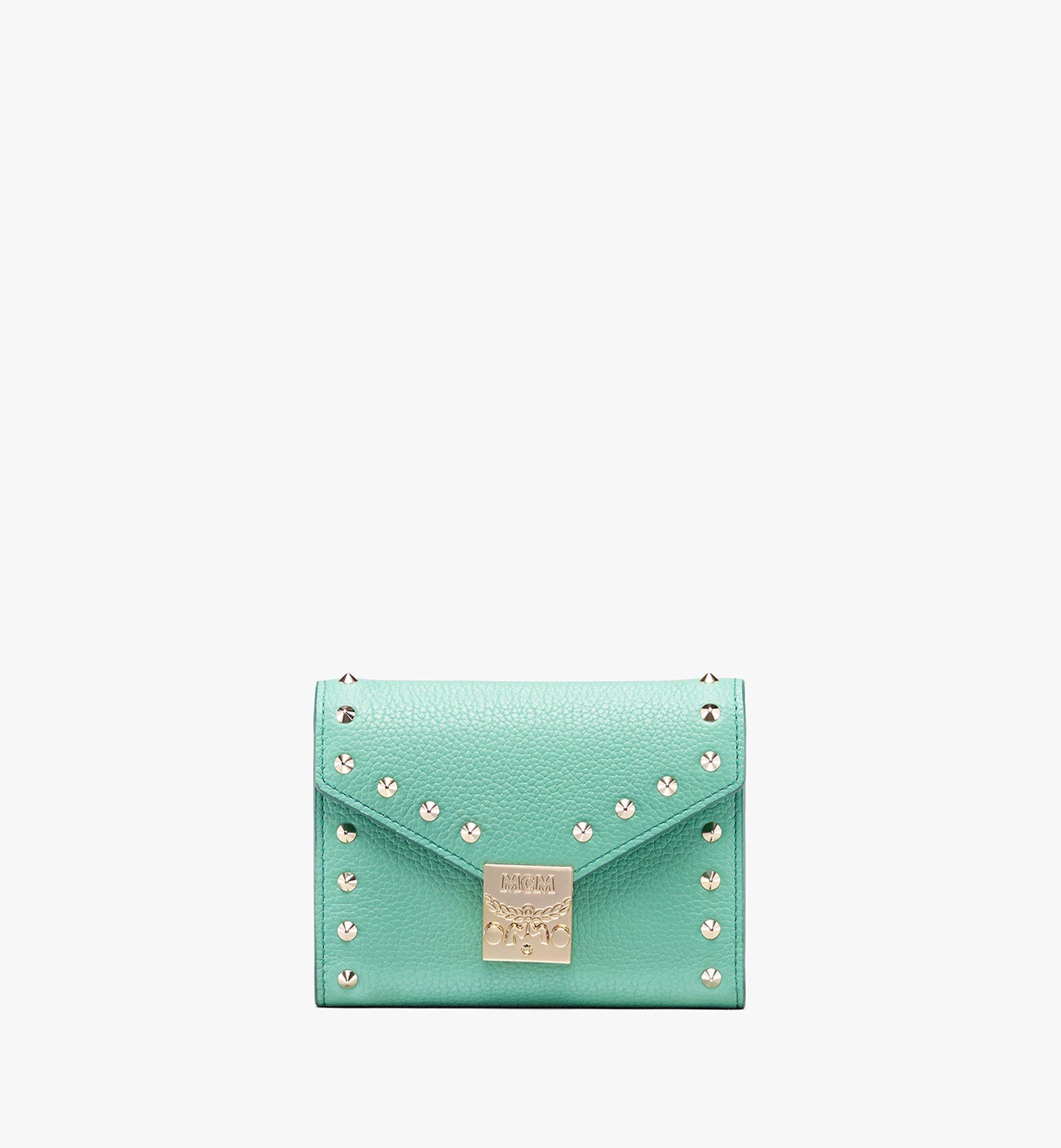 MCM Patricia Three-Fold Wallet in Studded Park Ave Leather Green MYS9APA93G7001 Alternate View 1