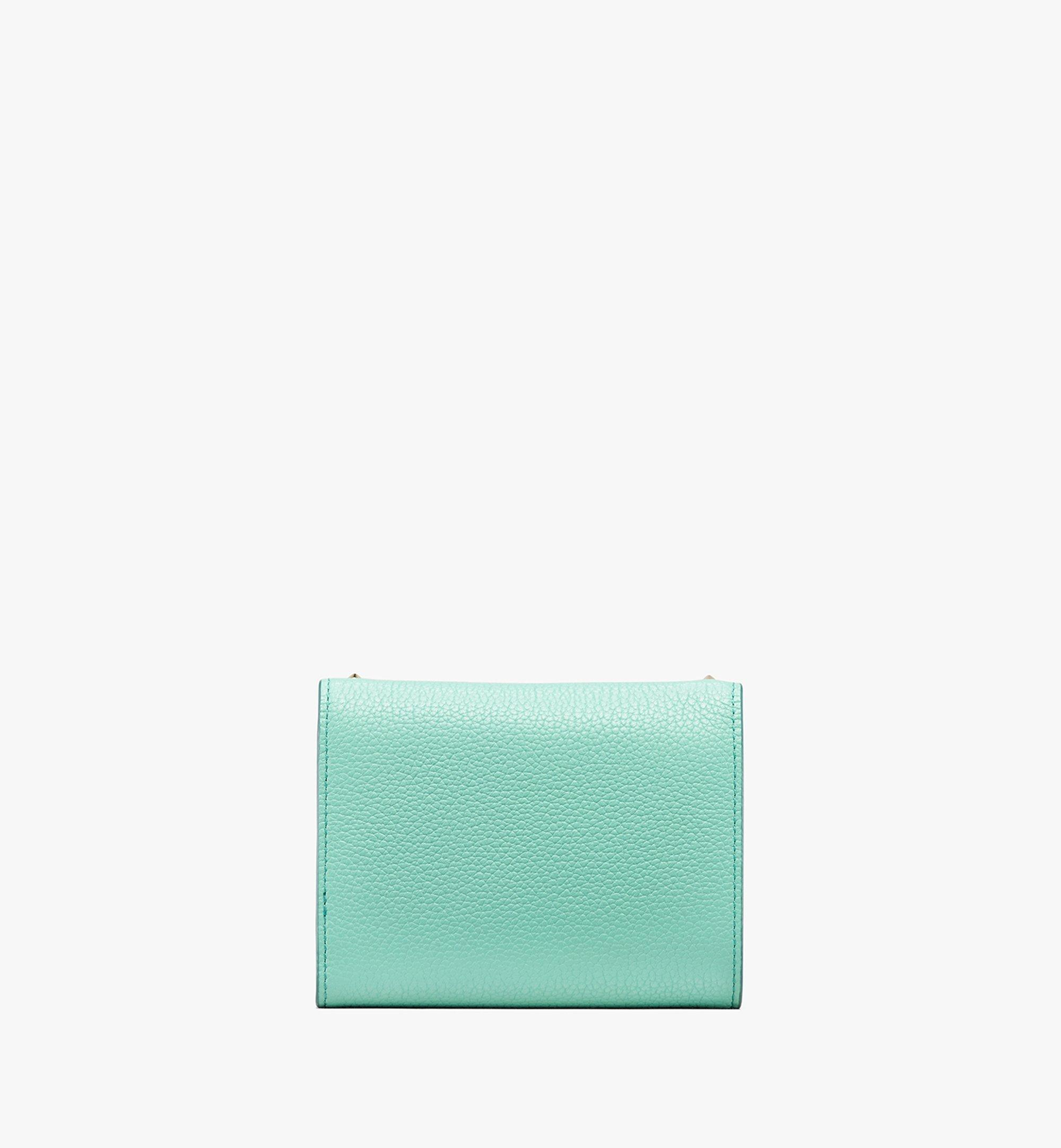 MCM Patricia Three-Fold Wallet in Studded Park Ave Leather Green MYS9APA93G7001 Alternate View 2