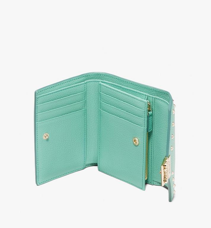 MCM Patricia Three-Fold Wallet in Studded Park Ave Leather Green MYS9APA93G7001 Alternate View 3