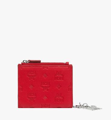 Flache gefaltete Charm-Brieftasche aus Leder mit Monogramm