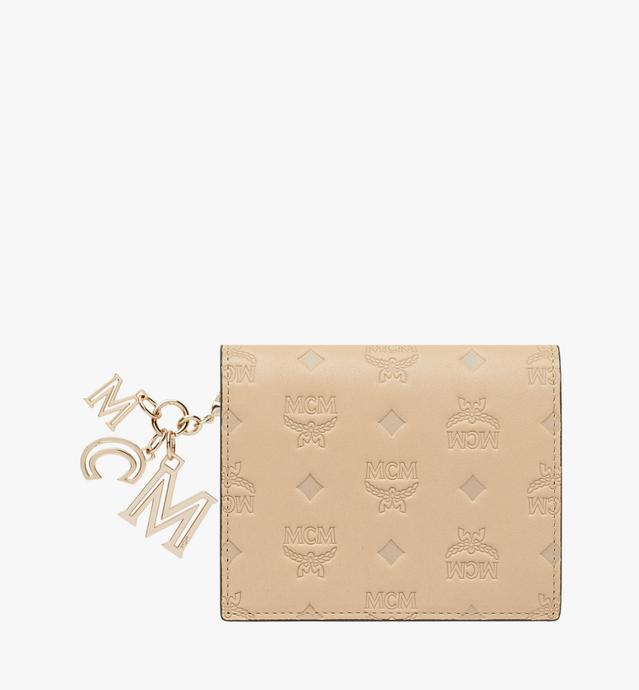 Portefeuille plat en cuir monogrammé avec breloque