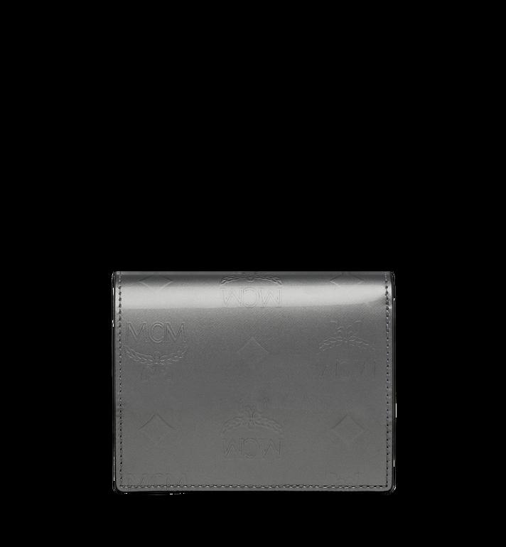 MCM Two-Fold Flat Wallet in Monogram Patent Leather Grey MYS9SPM04EG001 Alternate View 3