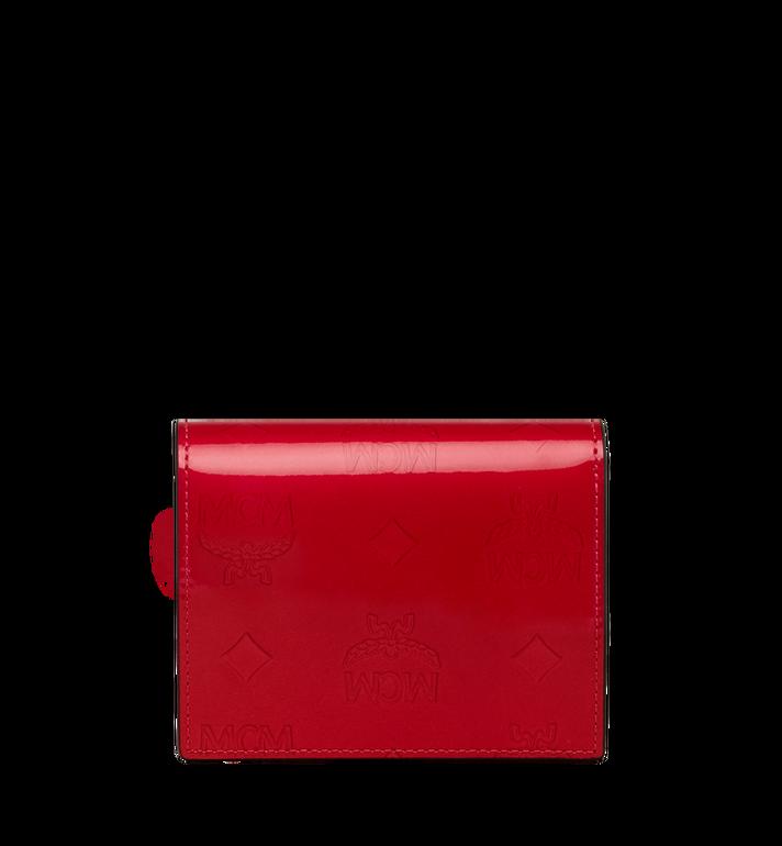 MCM Portefeuille plat à deux volets en cuir verni monogrammé Red MYS9SPM04UF001 Alternate View 3