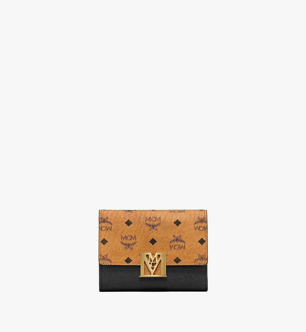 MCM Mena Trifold Wallet in Visetos Leather Block Black MYSAALM01BK001 Alternate View 1