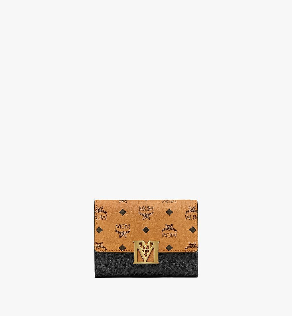 MCM Mena Trifold Wallet in Visetos Leather Block Black MYSAALM01BK001 Alternate View 1