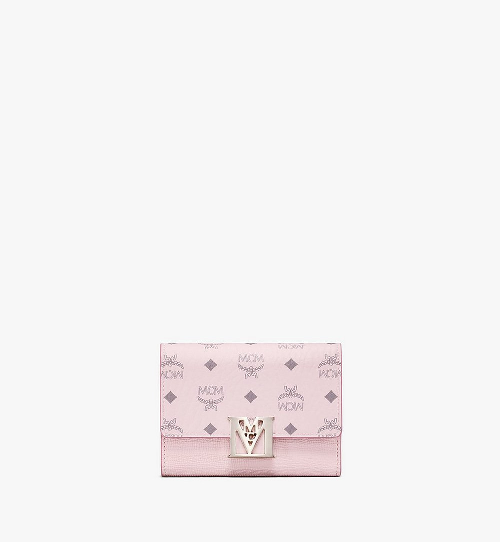 MCM Mena Trifold Wallet in Visetos Leather Block Pink MYSAALM01QH001 Alternate View 1