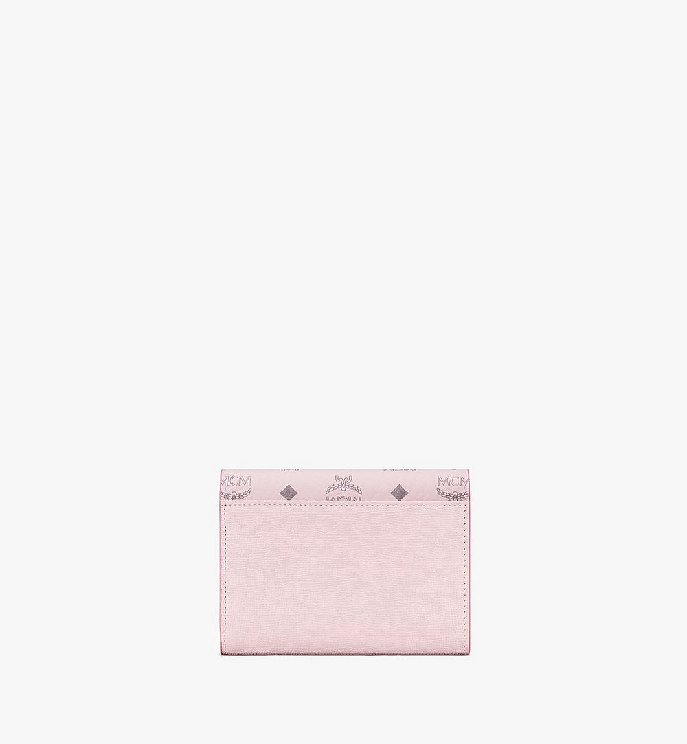 MCM Mena Trifold Wallet in Visetos Leather Block Pink MYSAALM01QH001 Alternate View 2