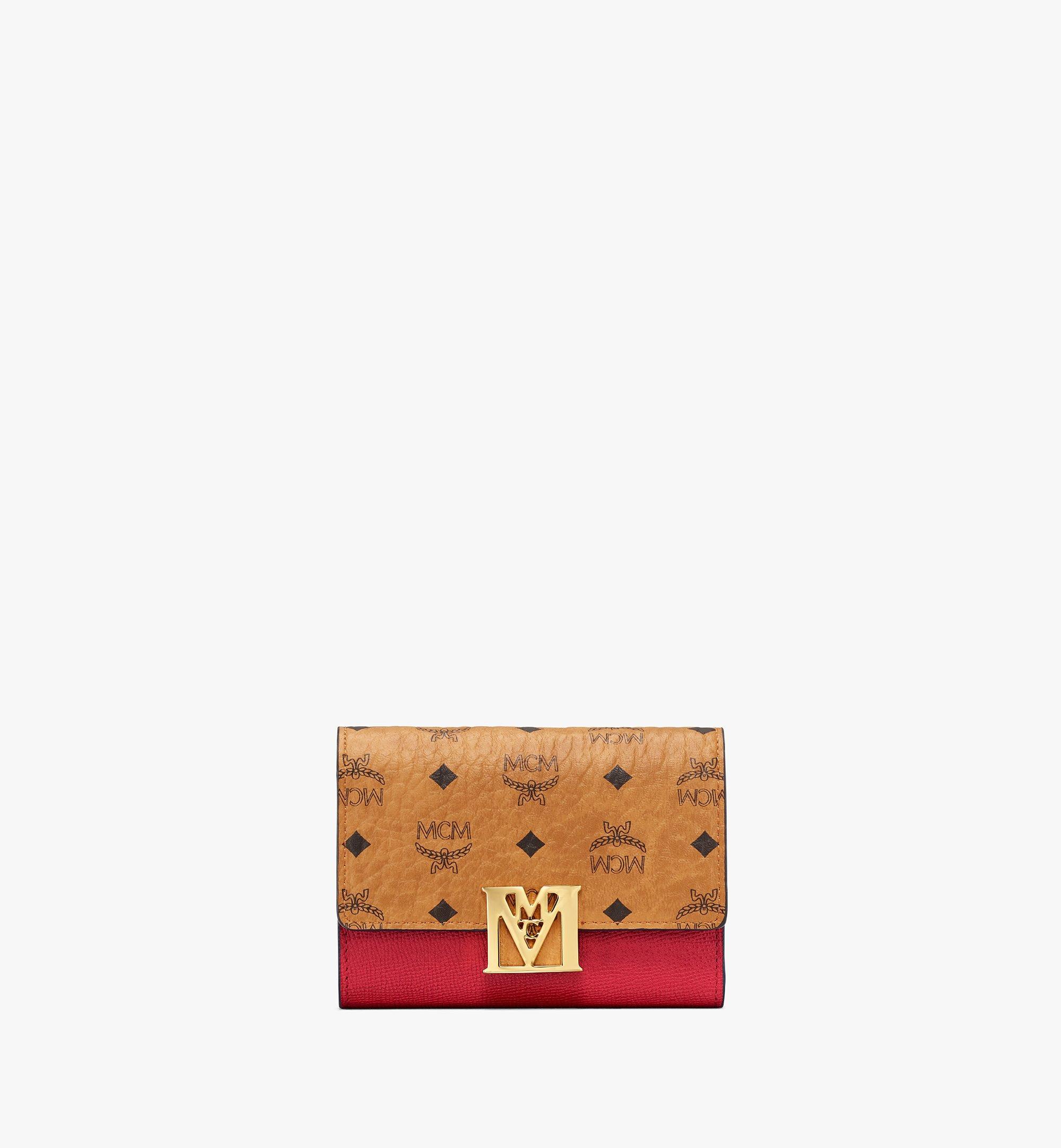 MCM 拼色 Visetos 皮革 Mena 三折錢包 Red MYSAALM01RU001 更多視圖 1