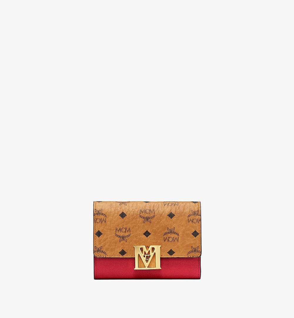 MCM Mena Trifold Wallet in Visetos Leather Block Red MYSAALM01RU001 Alternate View 1