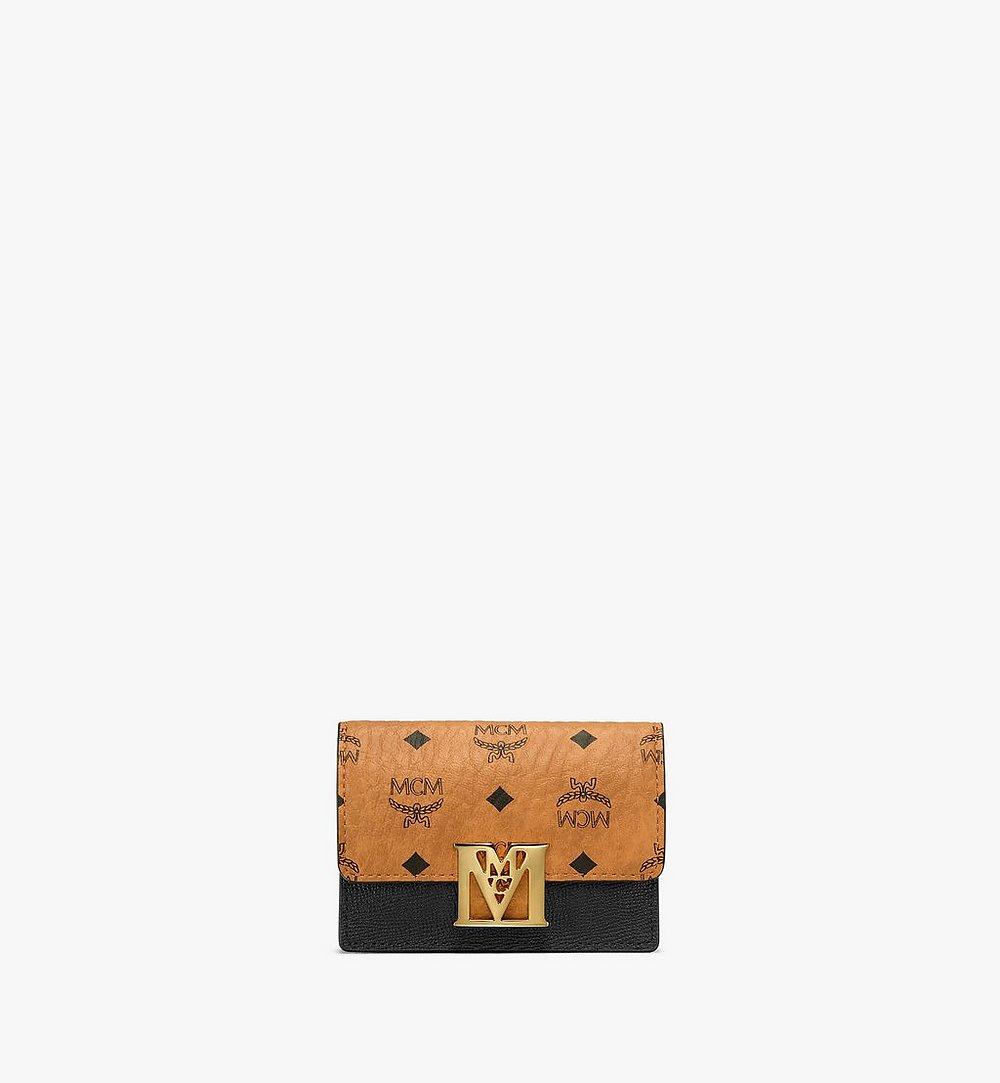 MCM Mena Accordion Card Holder in Visetos Leather Block Black MYSAALM03BK001 Alternate View 1