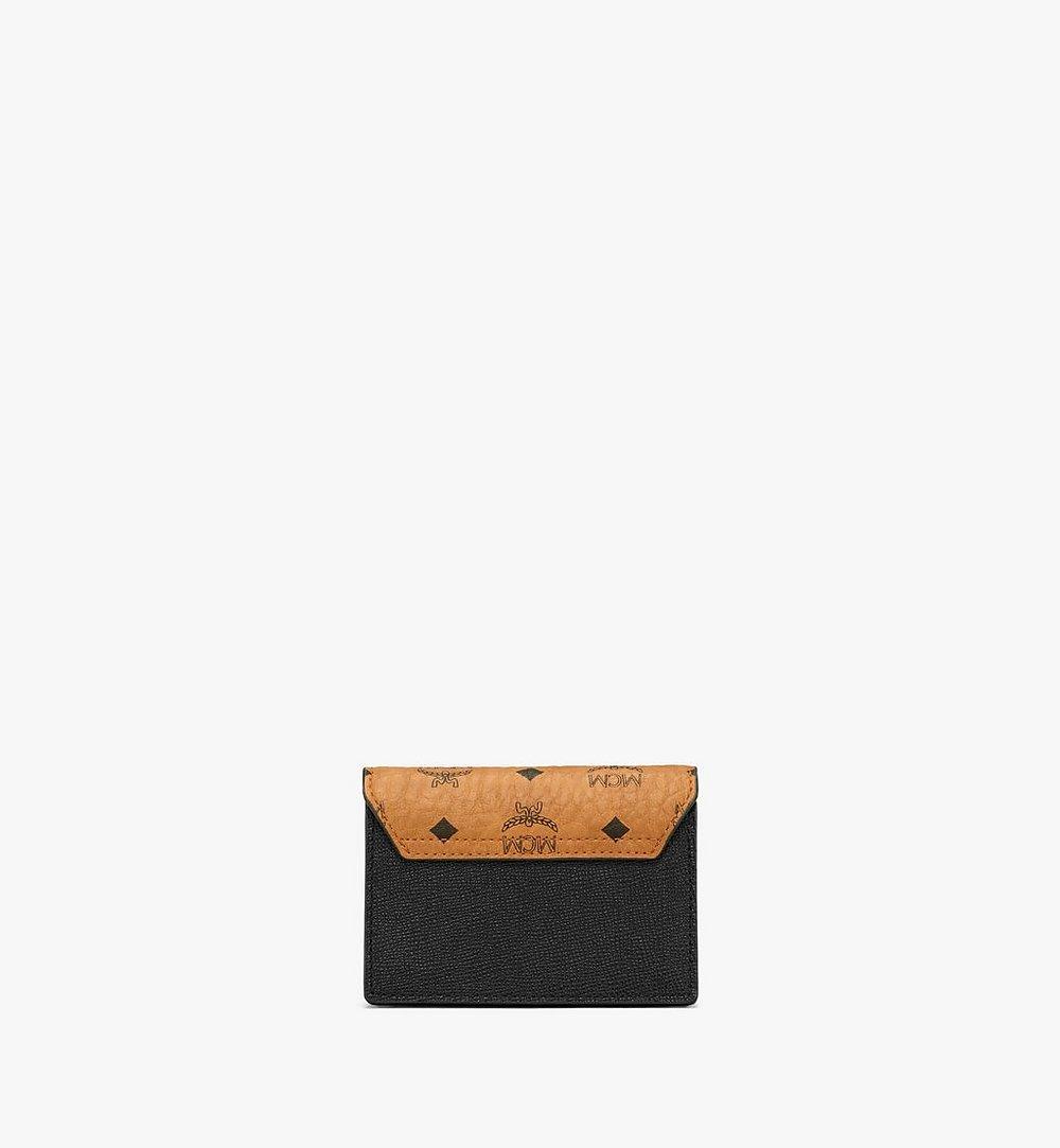 MCM Mena Accordion Card Holder in Visetos Leather Block Black MYSAALM03BK001 Alternate View 2