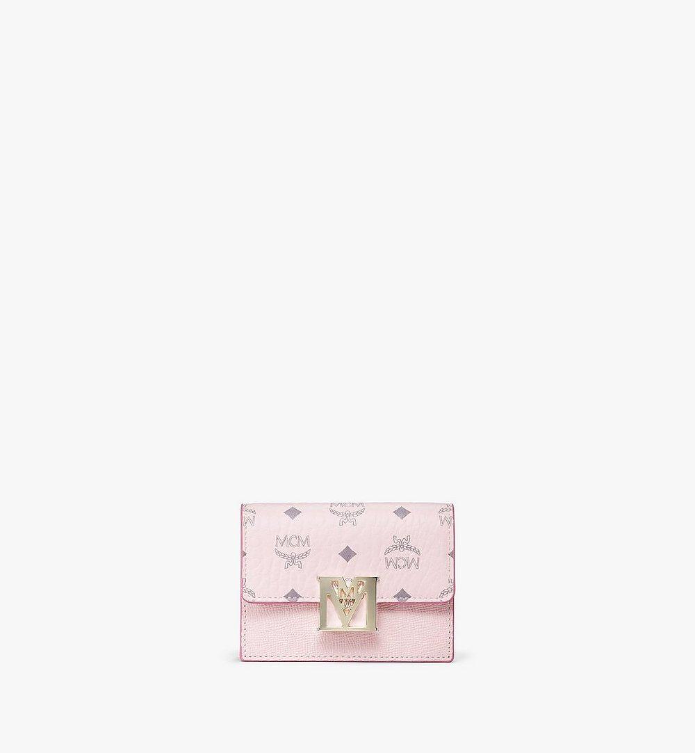MCM Mena Accordion Card Holder in Visetos Leather Block Pink MYSAALM03QH001 Alternate View 1