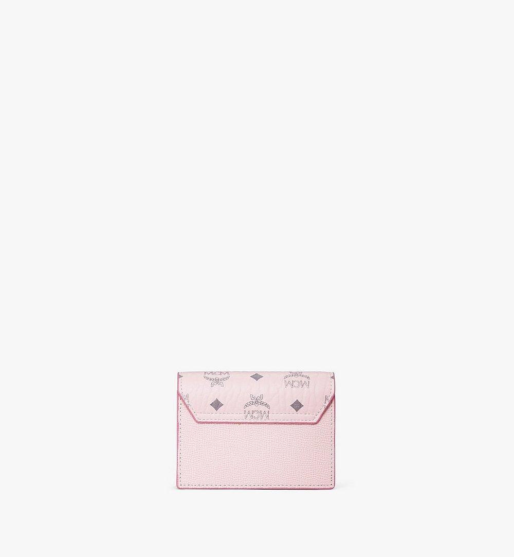 MCM Mena Accordion Card Holder in Visetos Leather Block Pink MYSAALM03QH001 Alternate View 2