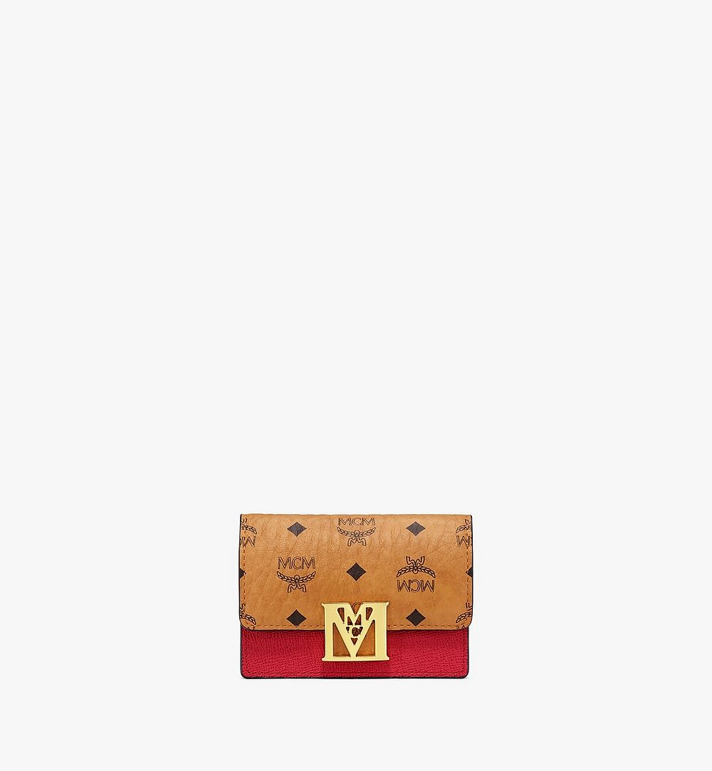 MCM 〈メーナ〉アコーディオン カードホルダー - ヴィセトス レザー ブロック Red MYSAALM03RU001 ほかの角度から見る 1