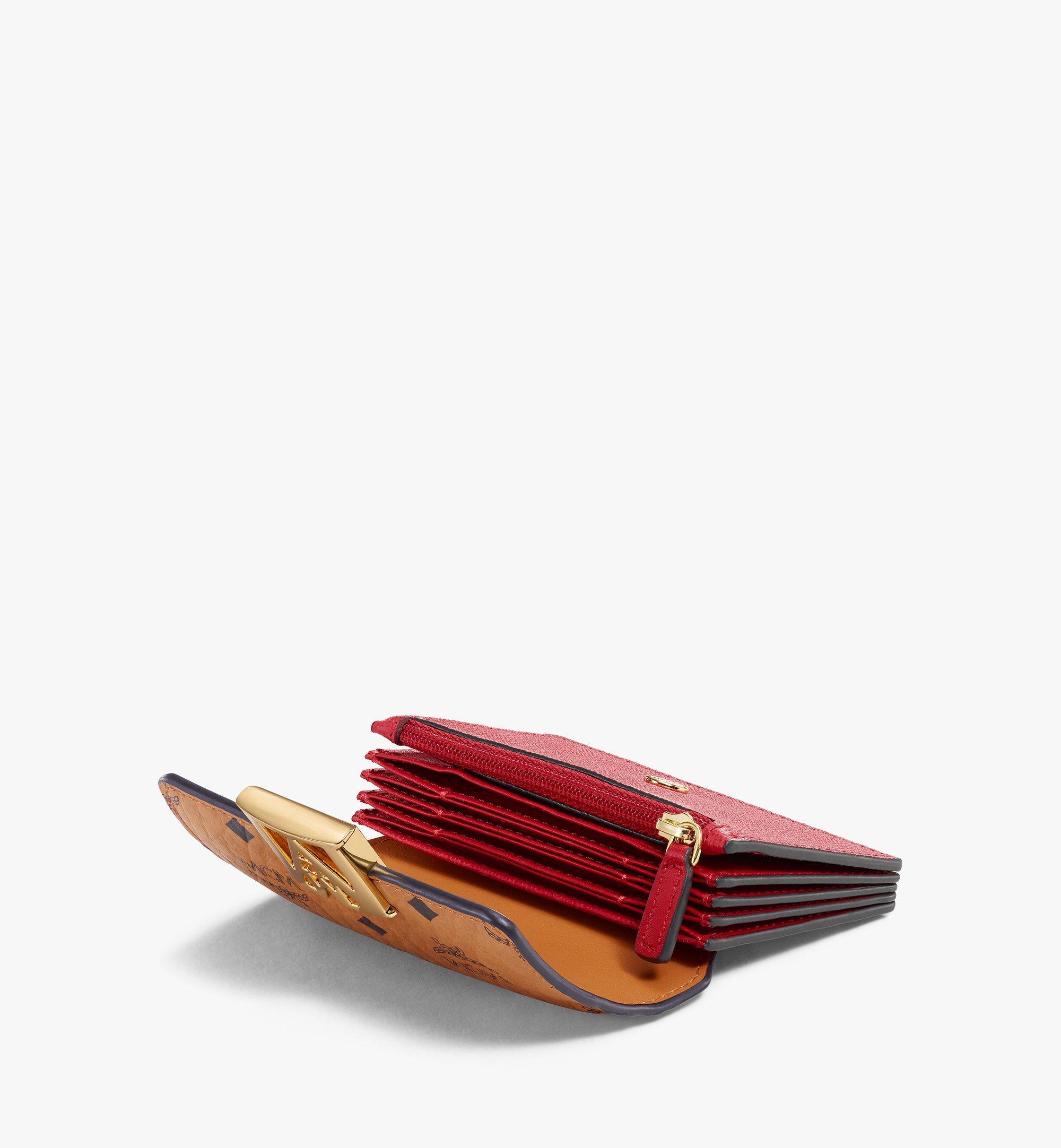 MCM Mena Accordion Card Holder in Visetos Leather Block Red MYSAALM03RU001 Alternate View 1