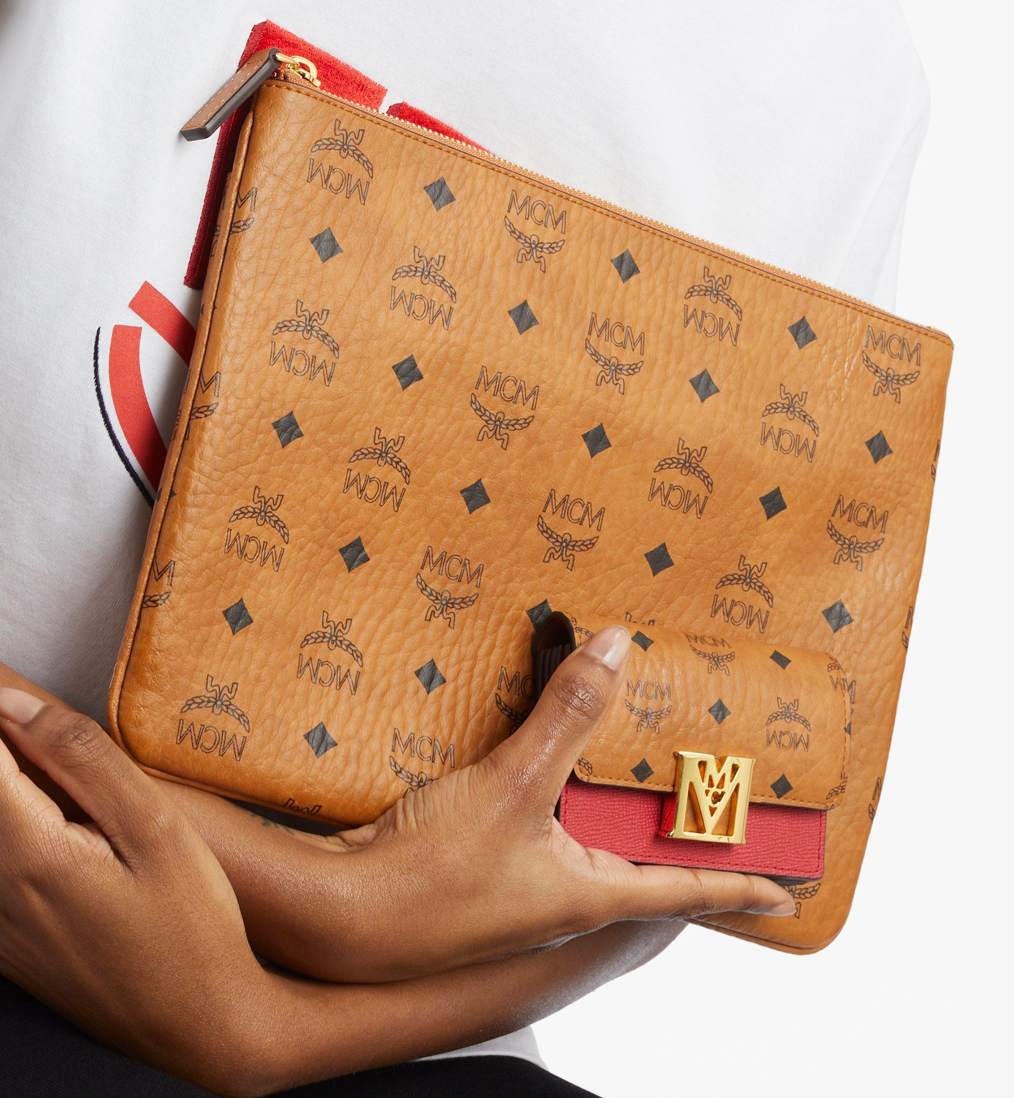 MCM Mena Accordion Card Holder in Visetos Leather Block Red MYSAALM03RU001 Alternate View 2