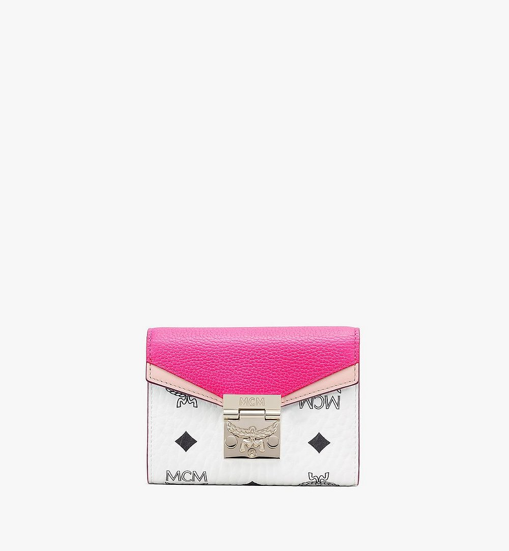 MCM Patricia Trifold Wallet in Color Block Visetos Pink MYSAAPA04QJ001 Alternate View 1