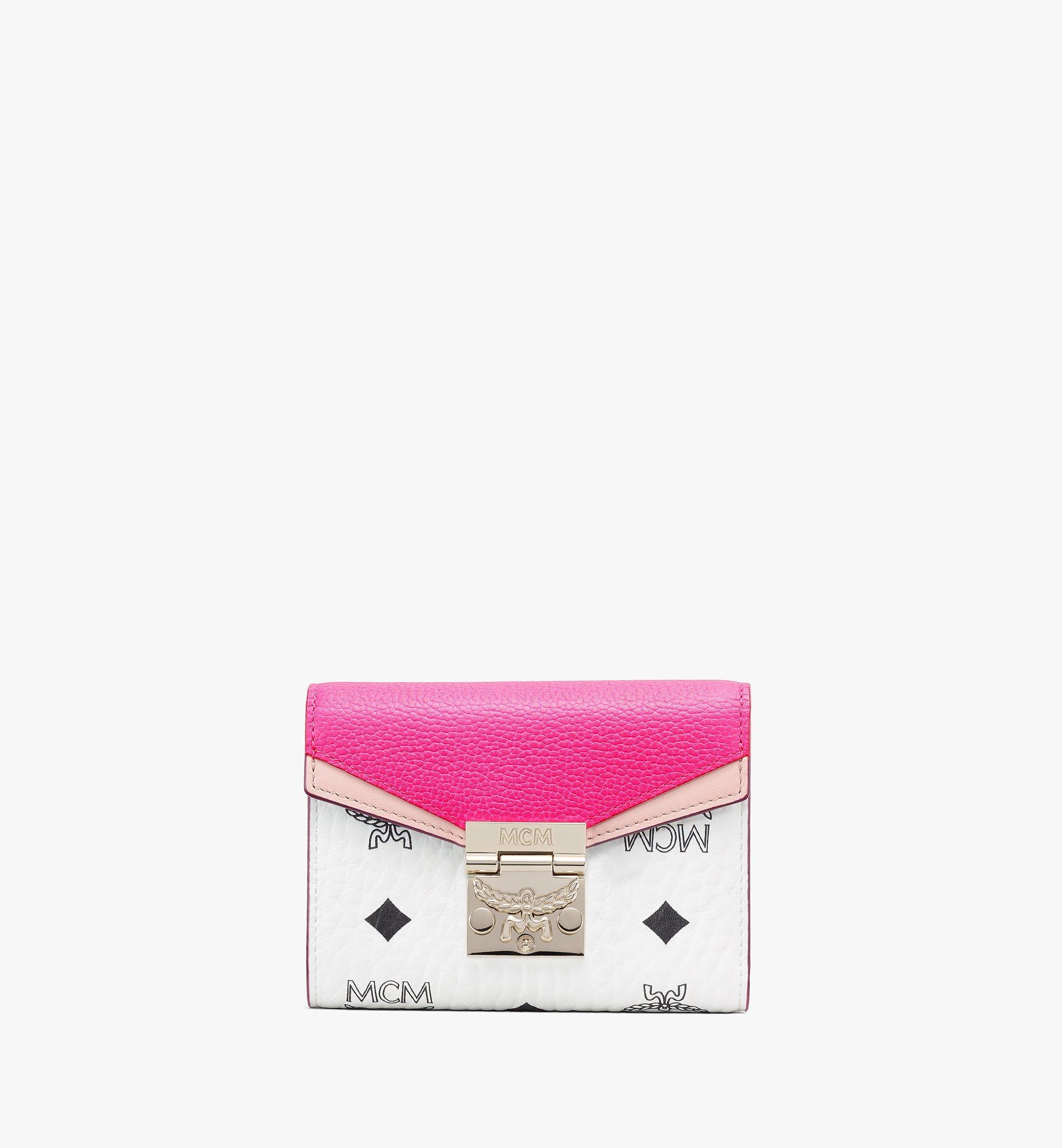 MCM Patricia Trifold Wallet in Color Block Visetos Pink MYSAAPA04QJ001 Alternate View 1