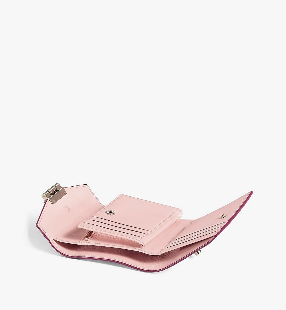 MCM Patricia Trifold Wallet in Color Block Visetos Pink MYSAAPA04QJ001 Alternate View 2