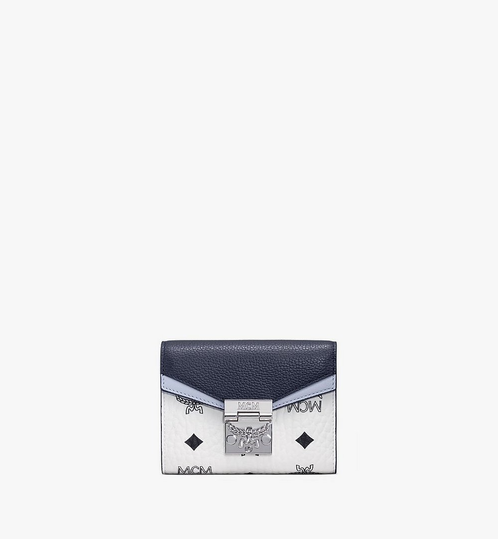 MCM Patricia Trifold Wallet in Color Block Visetos Blue MYSAAPA04VW001 Alternate View 1
