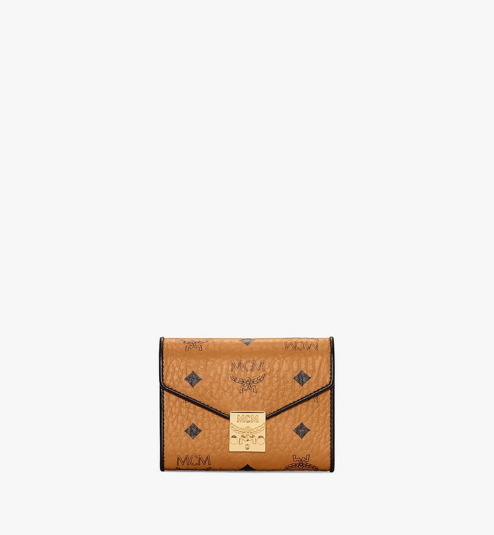 MCM Patricia Trifold Wallet in Visetos Leather Block Cognac MYSAAPA05CO001 Alternate View 1