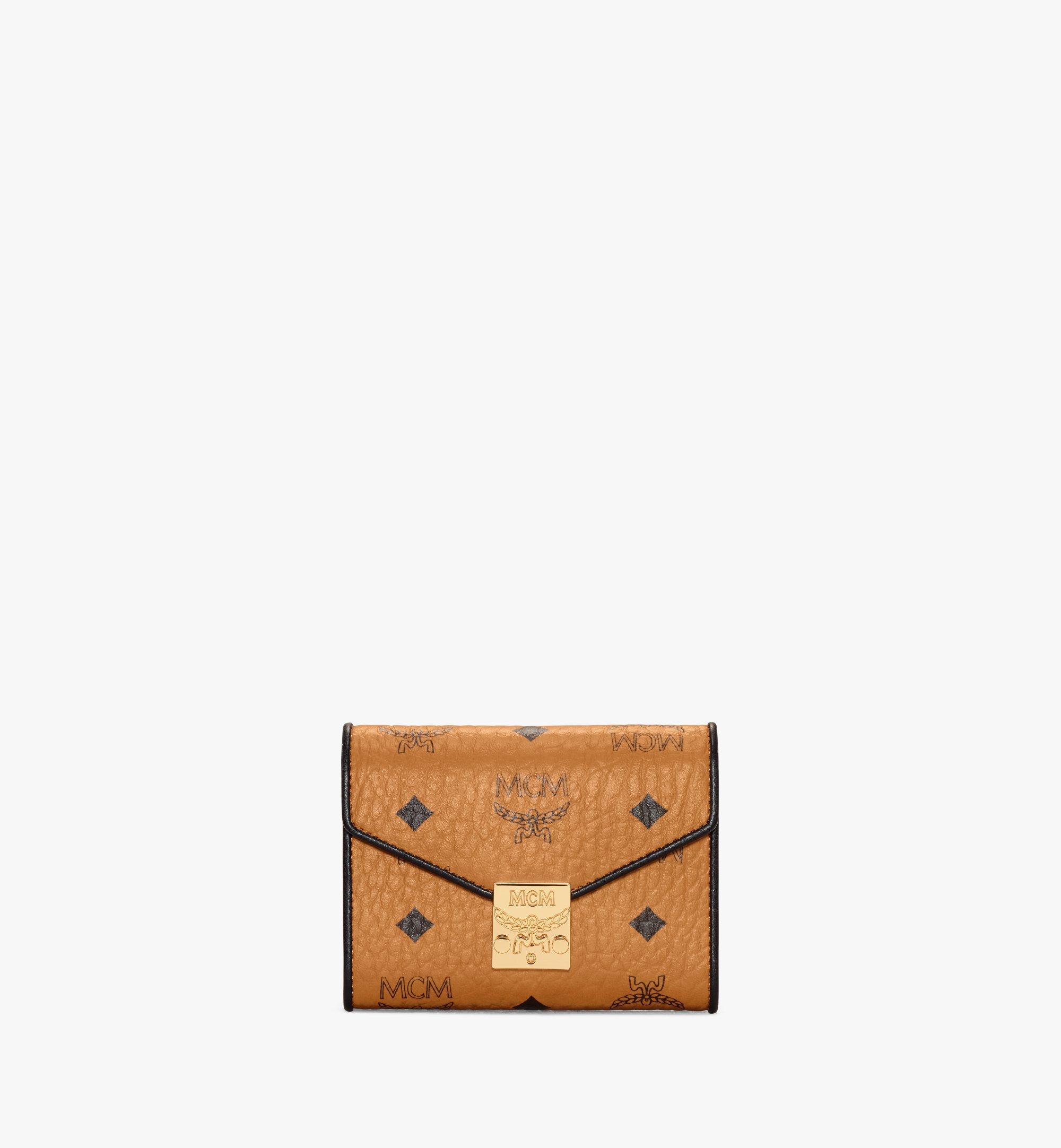 MCM Patricia Trifold Wallet in Visetos Leather Block Cognac MYSAAPA05CO001 Alternate View 1