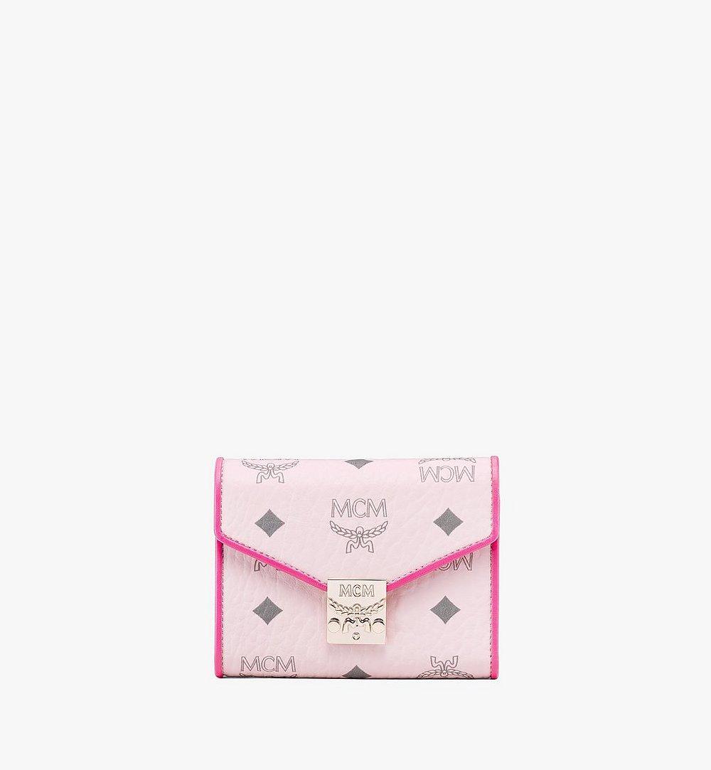 MCM Patricia Trifold Wallet in Visetos Leather Block Pink MYSAAPA05QH001 Alternate View 1