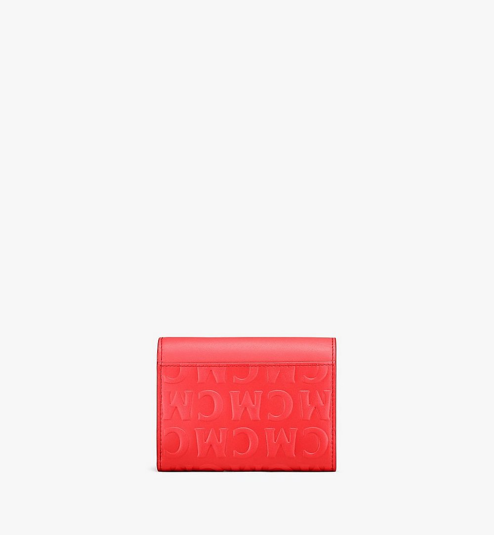 MCM Patricia Trifold Wallet in MCM Monogram Leather Red MYSAAPA06RP001 Alternate View 2