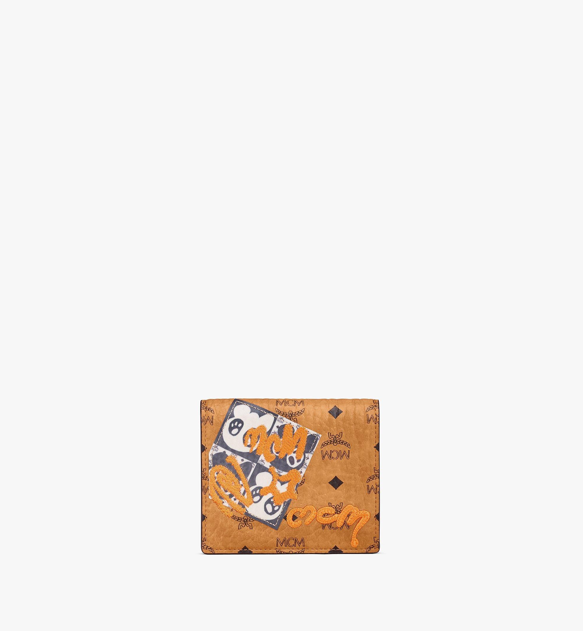 MCM Bifold Flat Wallet in Berlin Bear Visetos Cognac MYSAAVI04CO001 Alternate View 1