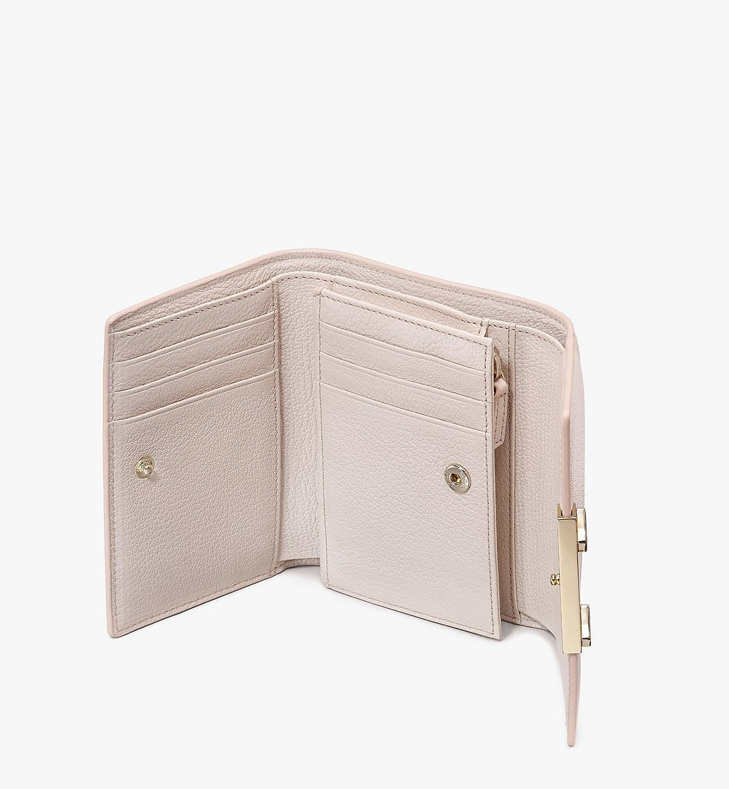MCM Milano Three-Fold Wallet in Goatskin Leather Beige MYSASDA01IH001 Alternate View 2
