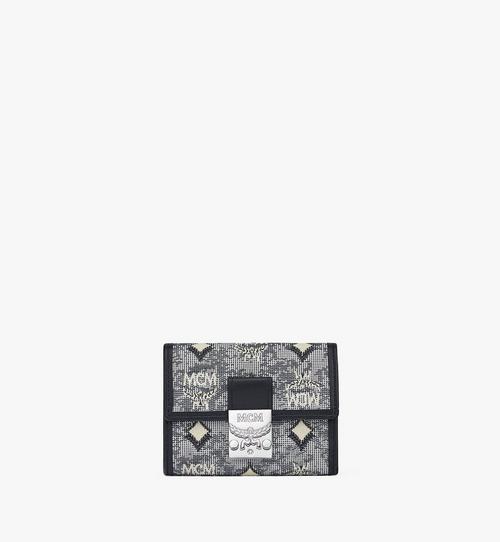 Portefeuille à trois volets en jacquard monogrammé vintage